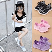 Wholesale Comfort Shoes Wholesale - Hot 2016 new baby kids shoes Girls boys casual sports shoes Lace-up lightweight weave upper TPR Children outdoor soft comfort pink purple