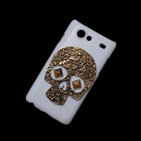 Wholesale Galaxy S Advance Cases - Hard Back Case Cover for Samsung Galaxy S Advance I9070, Vintage Retro Bronze Metallic Skull Skeleton Punk Rivet Stud Protective Skin Shell