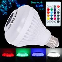 Wholesale playing lead - led bulbs E27 smart music bulb RGB wireless bluetooth Audio speaker playing lampada remote control lights