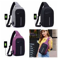 Wholesale Connector Bags - USB One Strap Shoulder Bag Anti-thief Backpack With USB Connector Polyester Sling Bags Chest Crossbody Bag 3 Colors OOA3173