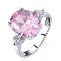 Wholesale Gold Jewerly Sets - Women's Pink Crystal and Cubic Zirconia 18k White Gold Plated GP Ring Lovely Party Jewerly AAA+ Quality Gift Free Shipping