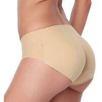 Wholesale Seamless Bottoms Up Underwear - Sexy Padded Panties Seamless Bottom Panties Buttocks Push Up Lingerie Women's Underwear Butt Lift Briefs Hip Enhancer Shaper