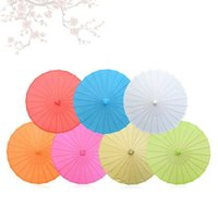 Wholesale Small Parasol Umbrellas - Children Size Small Chinese Art Craft Umbrella Blank Paper Long Handle Wedding Parasol 23.6inch 60cm ZA4697