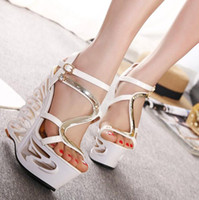 kesim topuklarını toptan satış-2016 Yaz Yeni Stil Bayanlar Rhinestone Kesme Yüksek Topuk Sandalet Seksi Platformu Roma Sandalet Kadın Elbise Ayakkabı Pompalar