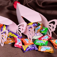 Wholesale Triangle Shaped Cake Boxes - Fashion 10 pcs Triangle butterfly paper candy chocolate gift box for wedding birthday party favor Cake Shape Boxes