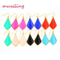 Wholesale Rhombus Earrings - musiling Jewelry Natural Stone Drop Earrings 18K Gold Plated New Charms Wholesale Rhombus Ear Accessories Fashion Jewelry Women Gifts