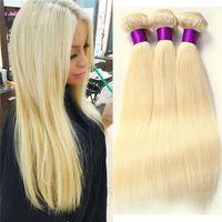 28 parça saç örgüsü toptan satış-Sarışın Brezilyalı Saç 3 Adet Çok 100 g / adet 613 Sarışın Saç Ucuz İnsan Saç Dokuma Paketler Brezilyalı İnsan Saç Düz
