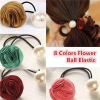 Wholesale Crochet Rose Headband - Women All-match Rose Flower Pearl Hair Rope Rubber String Silk yarn Hair Accessory Chiffon Soft Stretchy Elastic Crochet Headbands Stretchy