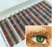 Precio de fábrica Color del arco iris Pestañas individuales 0.10 Grosor 9mm C-Curl Lashes In One Tray Makeup Eye Lashes Extentions