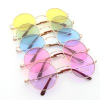 Wholesale Circle Shades Men - Retail Wholesale John Lennon Vintage Retro Mirroered Round Circle Lens Mirror Hippie Shades Sunglasses Colored Lenses