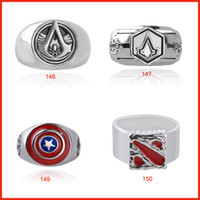 Wholesale Dota Model - 4 model alloy Assassin's Creed Captain America dota finger rings band nail rings for men women punk jewelry Christmas gift 080146 147 150