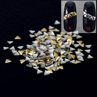 Wholesale Triangle Nail Stickers - 3mm Paste Manicure Silver Gold Triangle Flatback Iron On Nail Tips Metallic Stickers Alloy Decals DIY 3D Nails Art Decoration