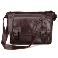 Wholesale 13 Laptop Shoulder Leather Bag - Mens Genuine Leather Korean Style Single Inclined Shoulder Bag Fit For 13 inch laptop Bag Macbookpro Chocolate Color 7022