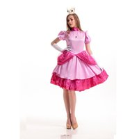 Wholesale Pirate Costume Deluxe - Deluxe adult Princess Peach Costume women Super Mario Brothers party cosplay halloween costumes for women pink dress wholesale