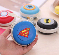 Wholesale Key Holder Bag For Men - Superhero superman spider-man Coin Purse Storage Bag Case For Earphone Headphone Earbuds Key Coin Hard Holder Box Carrying Hard Hold Case