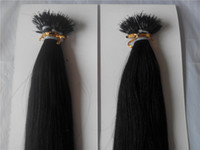 "Wholesale hair extension s - High Quality 14""-28""Nano Rings INDIAN REMY Human Hair Extensions 100g pk 1g s Color #1 Jet Black Nano Tip Hair Extensions"