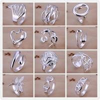 schöne silberne ringe großhandel-925 Sterlingsilber überzog Multiart-Charme-Ring-Weinlese-Finger-Ring Nizza Weihnachtsgeschenk für Frauen Damen-Größe 7,8 offene Art gemischt