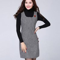 Wholesale Double Knit Vest - Pullover Dress Fashion Spring Autumn Winter Vest Dress O Neck Sleeveless A-line Tank Sweater Dress Female Free Shipping