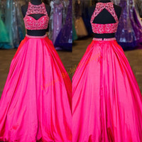 Wholesale Top Sexy Ball - 2K17 Prom Dresses Two Pieces Style with Major Beading Top and Sexy Back Real Photo Fuchsia Satin Ball Gown Quinceanera Gowns Free Shipping