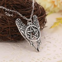 Wholesale Silver Chain Sellers - Antique Silver Necklace Supernatural Pentagram Necklace Castiel Wings Angel Wicca US SELLER Movie Jewelry