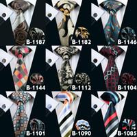 gemelos de calidad de los hombres al por mayor-Todo tipo de corbata para hombre 47 estilos corbata para hombres corbatas para adultos de alta calidad marca corbata mancuernas conjunto envío gratis