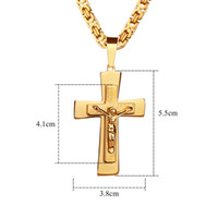 Wholesale Jewerly Stainless Steel For Man - Cross Christian Jesus Pendant Men Necklace Stainless Steel Jewerly Gold Silver Classic Pendant Mens Necklace Jewelry For Men