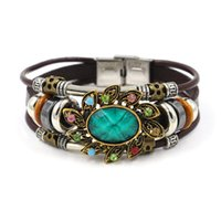Wholesale Stainless Steel Infinity Ring - Infinity Bracelets Fashion Ethnic Features Green Jewelry Wholesale Leather Infinity Charm Bracelet Vintage Accessories Lover Gifts