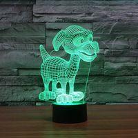 ingrosso lampada bella del fumetto del fumetto-Spedizione gratuita Cute Led Night Lights Bella 3D Little Dog LED Night Lamp USB Power Touch Botton Desk Lamp