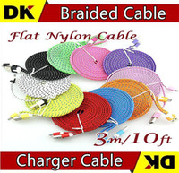 Wholesale Samung S3 - 1500 Pieces   Lot 1M 3FT 2M 6FT 3M 10FT Flat Braided Cable Fabric Woven Sync Data Charger Cable Cord For Samung Galaxy S3 S4 S5 Htc Note 2
