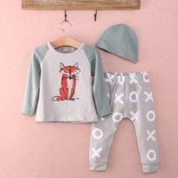 Wholesale Top Baby Girl Clothes - Newborn clothing set 2015 3pcs Baby Boys Girls Fox Top+Pants+Hat Set Newborn Infant Cotton Romper baby boy clothes High Quality