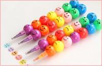 kabak oyuncakları toptan satış-7 Renkler Renkli Suluboya Fırça Gülen Karikatür Gülümseme Kalemler Kalem Marker Çocuk Kabak Oyuncaklar Hediyeler ücretsiz kargo