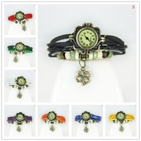 Wholesale Clover Shaped Watches - Drop Price luxury Pastoral Vine Watch 4 leaf Clover Leather Strap Casual Watches Analog Bronze Leaves women Ladies Quartz watch New 2016