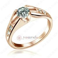 anéis de cristal de ródio venda por atacado-Yoursfs Moda Requintado Anéis de Presente 18 K Rhodium Uso de Cristal 0.5Ct Simulação de Diamante Noivado Anel De Casamento Para As Mulheres