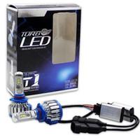 Wholesale H4 H7 Conversion Kit - 1 Set 9006 9005 T1 LED Headlight Conversion kit 70W 7200LM Cool White 6000k 360 Degree Beam Angle Turbo Fan Car LED Bulb