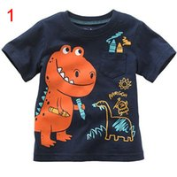 Wholesale Kid Boy Wearing Shirt Short - boys cartoon dinosaur fire truck crocodile tortoise snail striped T-shirt kids tee child top cotton coat children cloth wear size1-6T 60 lot