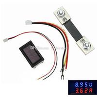 dc dijital amper göstergesi toptan satış-Dijital Voltmetre Ampermetre DC 200 V 100A LED Amp Volt Metre + Akım Şant B00327 OSTH