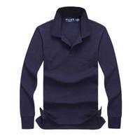 chemises de haute qualité pour hommes achat en gros de-Livraison gratuite 2017 automne et hiver nouvelle mode masculine de haute qualité à manches longues POLO shirt casual POLO hommes à manches longues taille S-XXL
