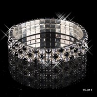 Wholesale Rhinstone Bracelet - 2017 Most Popular HOT Selling Elastic 3 Row Black Rhinstone Stretchy Pearl Wedding Bracelets Party Bridal Jewelry 2016 Christmas Party Gift