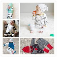 Wholesale Sleepwear T Shirts Cotton - Wholesale INS Boys Girls Baby Clothing Sets Cartoon Long Sleeve T-shirts Printed Harem Pants 2 Set Newborn Sleepwear Spring Autumn Clothes