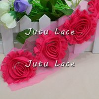 Wholesale Shabby Lace - Artificial Children Hair Accessories Baby Headbands Shabby Flowers Baby Headbands flower, Chiffon Fabric ribbon lace frayed triming Flower