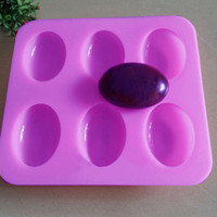 Wholesale Handmade Soap Sale - Wholesale- Cake Bakeware Mold Handmade Soap Mold 6 Slots Grooves Silicone Pastry Diy Moulds Egg Shape Silicone Mold Cake Hot Sale ZH01553