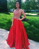 Wholesale Newest Sexy Beaded Halter Neckline - 2017 Newest Red Prom Dress Long Satin Evening Dress Featuring Rhinestone Beaded Bodice With Halter Neckline