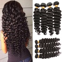9A Extensions de cheveux humains de la Vierge de Malaisie non transformées Deep Wave 8-32inch 4bundles Virgin Brazilian Indian Hair Weave Deep Curl Double Weft