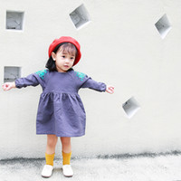 Wholesale European Style Round Neck Dress - 2017 INS New Euro style kids girl elegant round collar long sleeve with flower emboridery dress girl fall Lolita dress free shipping