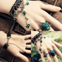 Wholesale Cheap Flowers For Headbands - Gothic Retro Pattern Bohemia Crystal Bracelet Ring One Chain For Girl Hand Made Flower Lace Bracelet With Crystal Cheap Fashion Bracelet