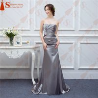 Wholesale Shining Mermaid Dresses - Silver Gray Evening Dresses Long Silk Satin Mermaid Shining Crystals Beaded Cheap Formal Evening Gown Prom Real Photos Free Ship