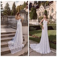 Wholesale Dalia Dress - 2017 Spaghetti Strips Mermaid Dimitrius Dalia Sleeveless Backless Wedding Gowns Sweep Train Bridal Dresses Full Lace Appliques Best Fitted