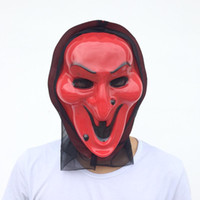 Wholesale Scary Devil Mask - Red Witch Mask Black Glauze Full Face Ghost Costume Halloween Party Mask Scary Devil Costume red color free shipping