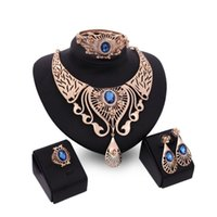 Wholesale Brown Crystal Earrings - Fashion wedding Jewelry set for women party Red Blue Brown Rhinestone Crystal Hollow Out Necklace Earring Ring Bracelet Charm Jewelry Set