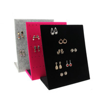 Wholesale Wood Show Case - Jewelry Frame Red Black Velvet Earrings Holder Earring Display Stand Jewelry Display shelf Show Case Organizer Tray